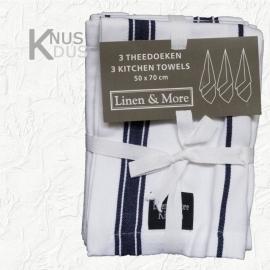Set 3 blauw gestreepte Theedoeken - Linen & More