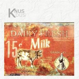 Blikken Wandbord `Dairy Fresh` - Rood