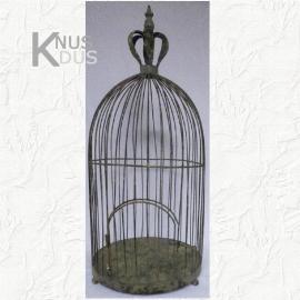 Brocante vogelkooi met kroon