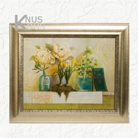 Landelijk schilderij 'Stolp Tulpen Kruiden'