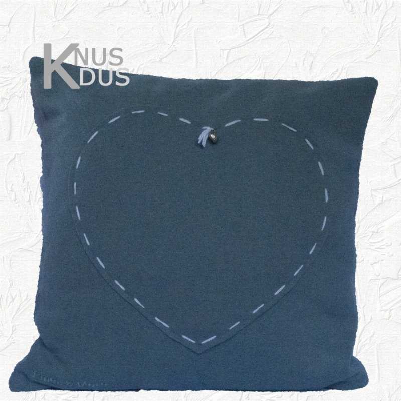 Kussen Linen & More - Lilly Heart 45x45 Blue