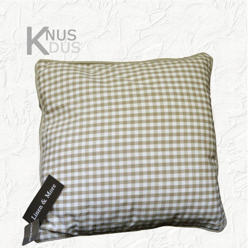 Kussen Linen & More - Beige Geblokt