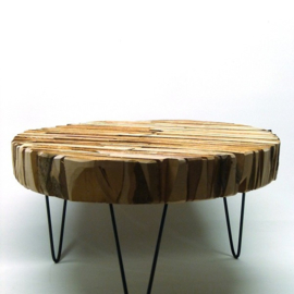 Round Pearwood Table Metal Feet L