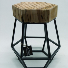 Pearwood Stool Metal Frame