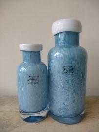 Fidrio glazen vaas / fles met hals antique blue