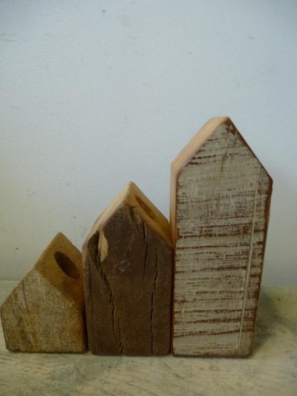 Otentic design scrapwood kandelaren set nr. 1