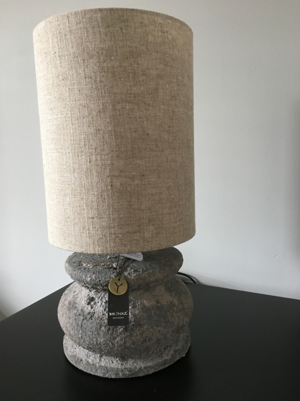 LAMP ROUND RUSTIC S D.21 H.15 inclusief LAMPSHADE CYLINDER LINEN 20x22x28