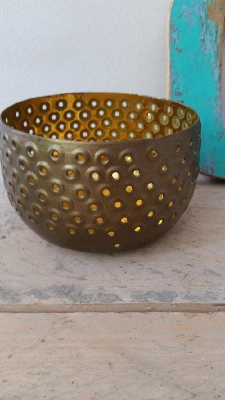 Bronze gold windlicht L