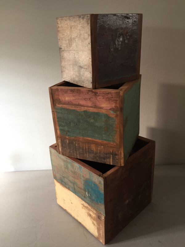 Set van 3 houten bakken
