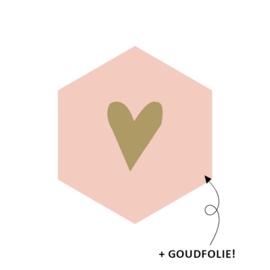 Roze hexagon met goud hartje - 10 stuks -