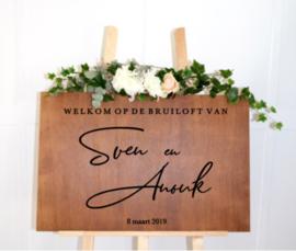 Welkomstbord 3 welkom op de bruiloft van  + namen