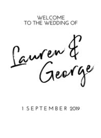 Welkomstbord 8 verticaal welcome to the wedding of - namen en datum - stiftlook