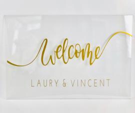 Welkomstbord 11 - acryl welcome met namen