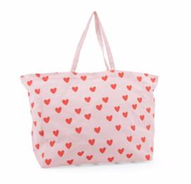 Hartjes Tas - Cotton Bag Hearts Lemonade Pink