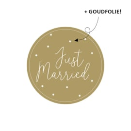 Just Married - stickers met goudfolie - 10 stuks