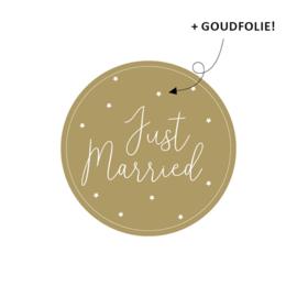 Just Married - stickers met goudfolie - 10 stuks