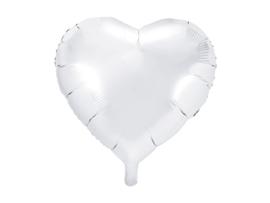 Folieballon Hart - 45 cm- 18 inch - Wit