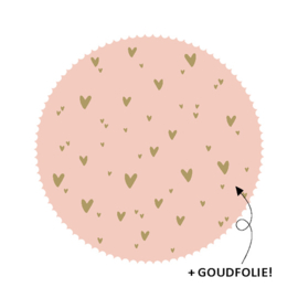 roze sticker rond met gouden hartjes - 10 stuks -