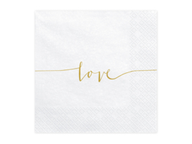 Servetten '  Love - gold ' (20st)