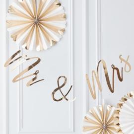 Mr & Mrs slinger goud- Gold Wedding Ginger Ray