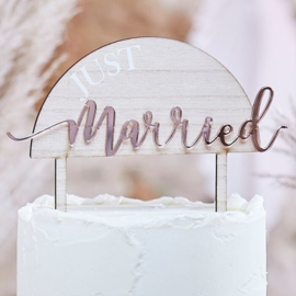 Taarttopper Just Married - Acryl op hout - Pampas wedding Ginger Ray