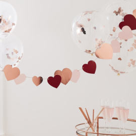 ROSE GOLD, RED & PINK HEART BUNTING