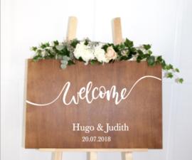 Welkomstbord 12 Welcome + Naam en Datum kalligrafie