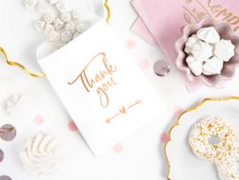 Thank you - uitdeelzakje - Rosé Goud - 6 stuks
