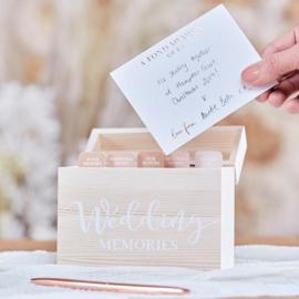 Houten memory box met kaartjes - pampas wedding Ginger Ray