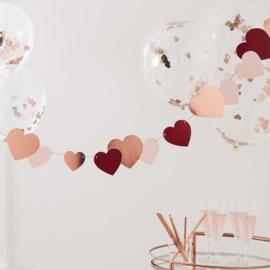 Rose gouden Valentijns Hartjes Slinger - Ginger Ray