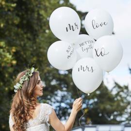 Witte bruiloft ballonnen - 6 stuks - Ginger ray