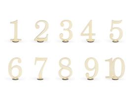 Tafelnummers 1 t/m 10 - hout