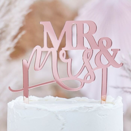 Acryl Taarttopper Mr & Mrs - rosegoud - pampas ginger ray