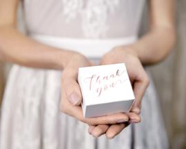 Thank you - Bedankdoosje - Vierkant - rosé-goud