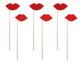 Photobooth Props rode lippen ( 6 stuks)