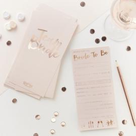 Advies kaarten voor de bride to be - rosé goud - ginger  ray