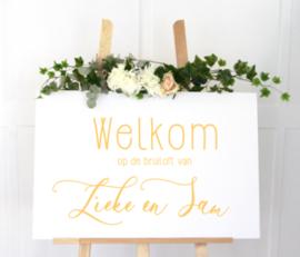 Welkomstbord 9 welkom op de bruiloft van met namen - sierlijk