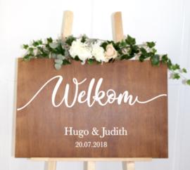 Welkomstbord 4 Welkom Kalligrafie met naam en datum