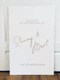 Welkomstbord 7 verticaal welcome to the wedding of - namen en datum - sierlijk