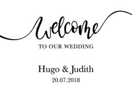 Welkomstbord 12 Welcome to our wedding + Naam en Datum kalligrafie