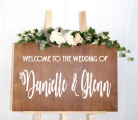 Welkomstbord 2 Welcome to the wedding of naam & naam