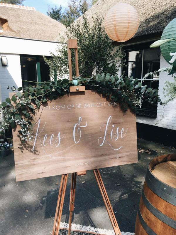 Welkomstbord 22 Welkom op de bruiloft van + jullie namen en datum