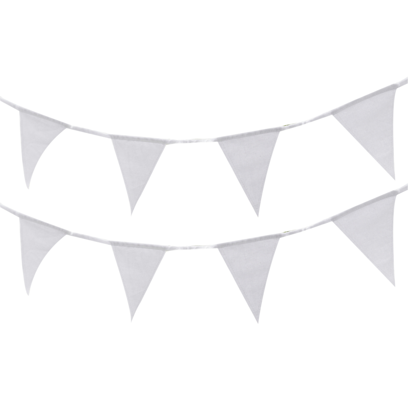 Witte stoffen vlaggenlijn 5 meter - Beautiful Botanics - Ginger Ray