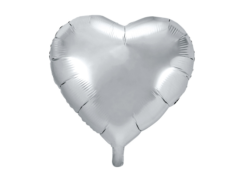 Folieballon Hart - 45 cm- 18 inch - Zilver