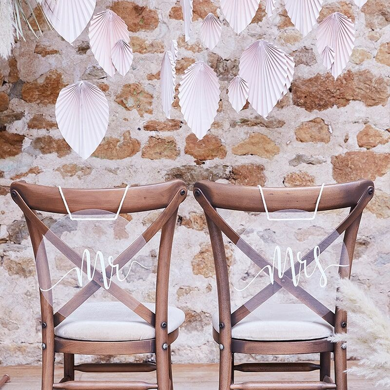 Acryl stoelbordjes Mr & Mrs
