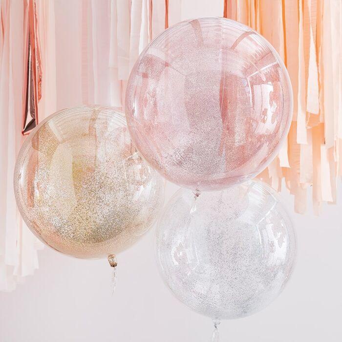 3 mixed metallic glitter orb ballon - Ginger Ray