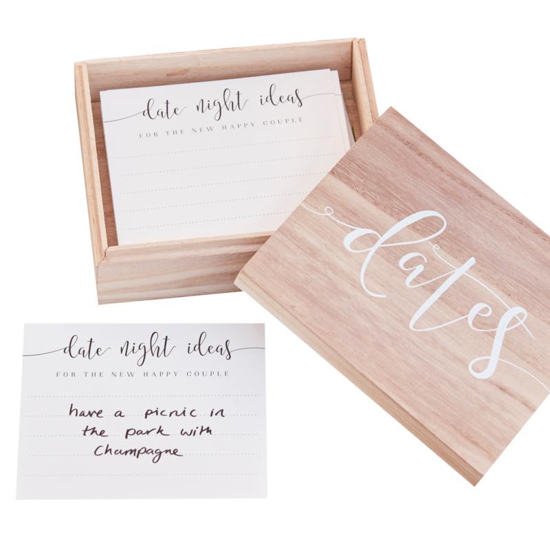 invulkaarten Dates met houten doos -  Rustic Country - Ginger Ray