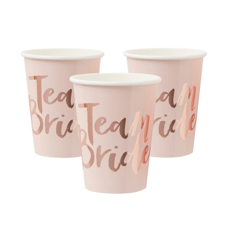 Team bride bekertjes roze-roségoud (8st) Ginger Ray