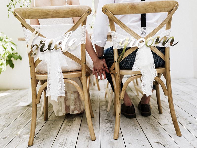 Stoelbordjes  Bride & Groom Goud