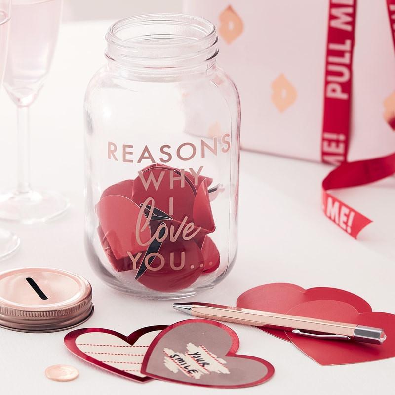 Rose Goud 'REASONS WHY I LOVE YOU' potje met hartvormige kras sticker kaartjes